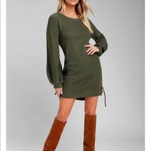 Lulu's Olive Green Bell Sleeve Sweater Dress